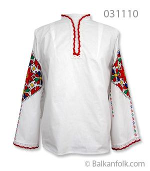 Къса женска шопска риза за литак с бродирани ръкави